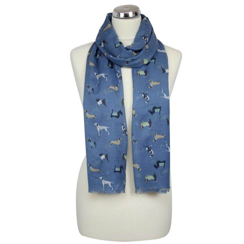 Ladies scarf - dog print navy
