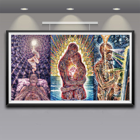 Trippy Alex Grey Art Silk Fabric Psychedelic Poster Print