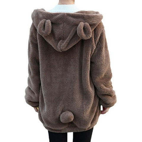 Fluffy Bear Ear Hoodie brown back