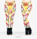 Fast Food Comix 3D Printing Stretchy Leggings donuts