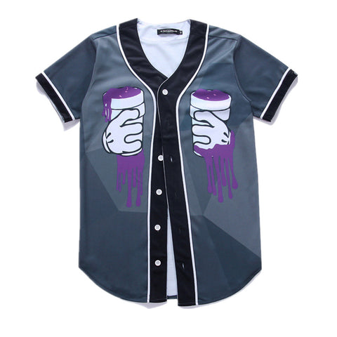 Men Baseball T- shirt Purple Drank
