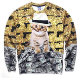 boss kitty sweatshirt cat wearing hat smoking cigar on pile of money