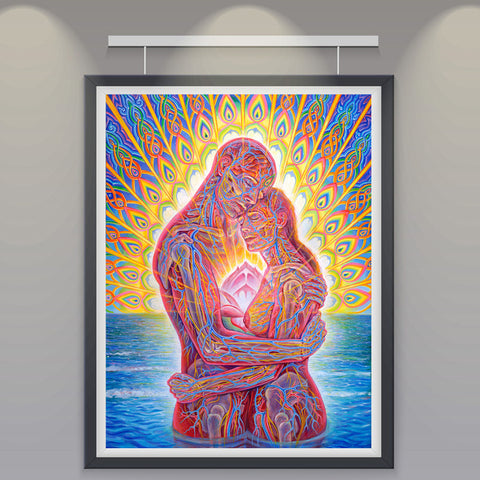 Trippy Alex Grey Kiss Art Silk Fabric Psychedelic Poster Print