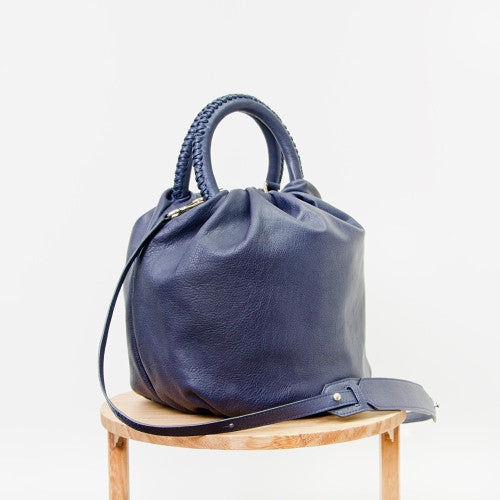 Shifuku Leather - Navy Designer Handbag 3