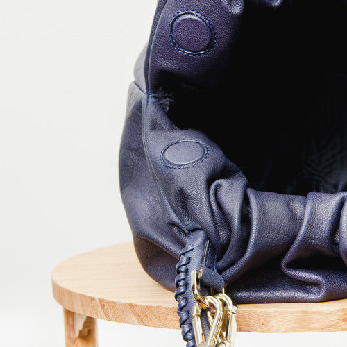Shifuku Leather - Navy Designer Handbag 4