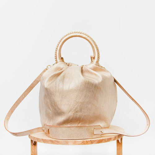 Shifuku Leather - Gold Designer Handbag