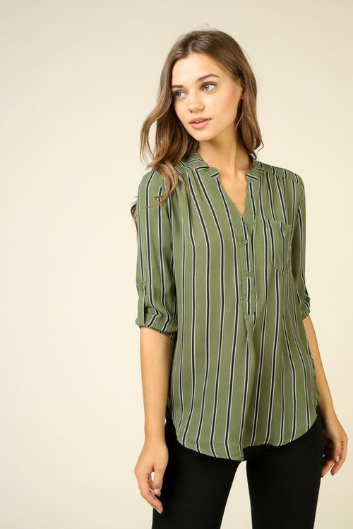 Olive Striped Button Up