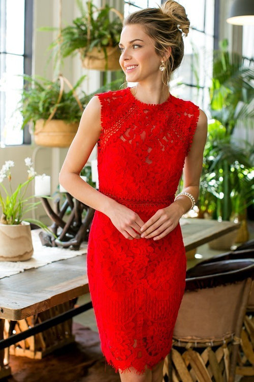 Stunning Red Lace Dress