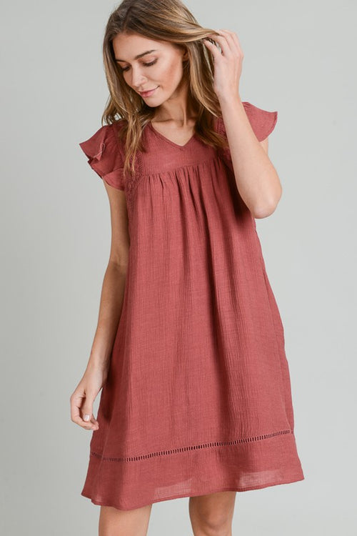 Terra Cotta Lace Trim Dress