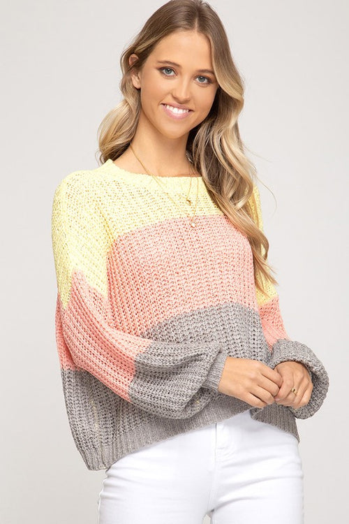 Bubble Color Block Knit Sweater