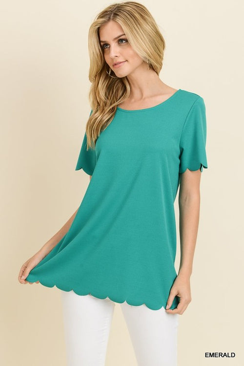 Emerald Scalloped Top