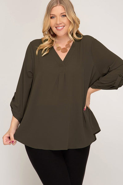 Curvy Olive Woven Top