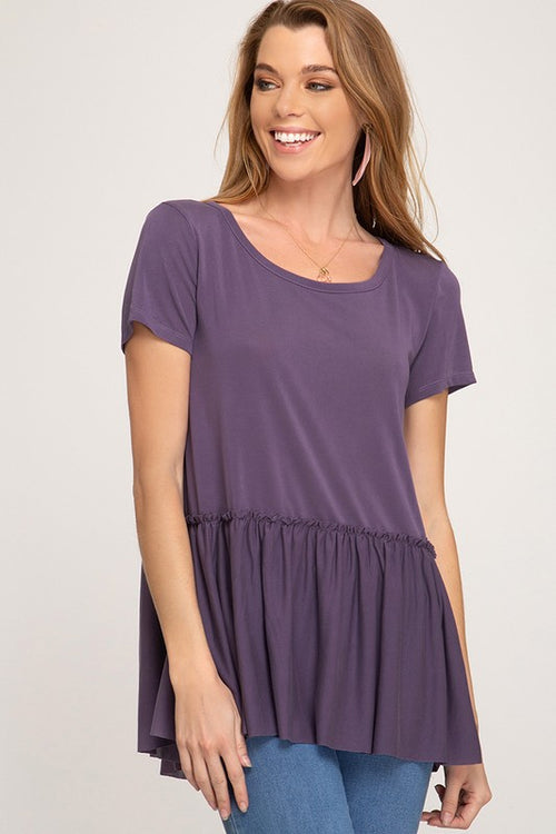 Purple Penelope Ruffle Top