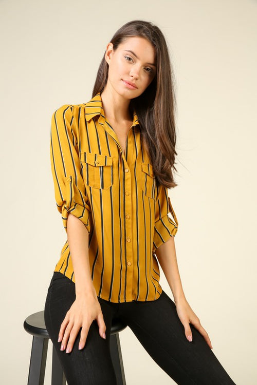 Mustard Striped Button Up