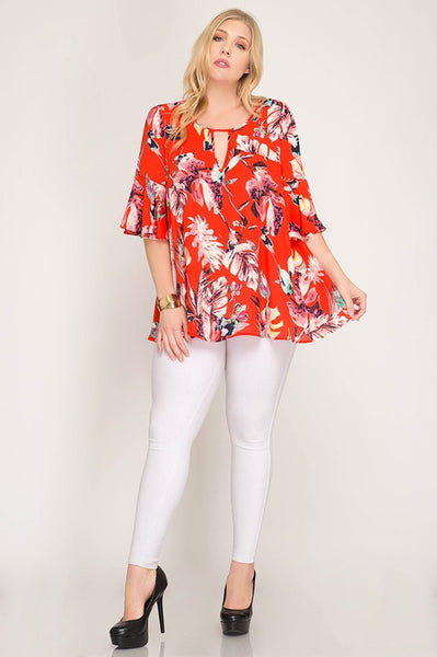 Curvy Tomato Tropical Top