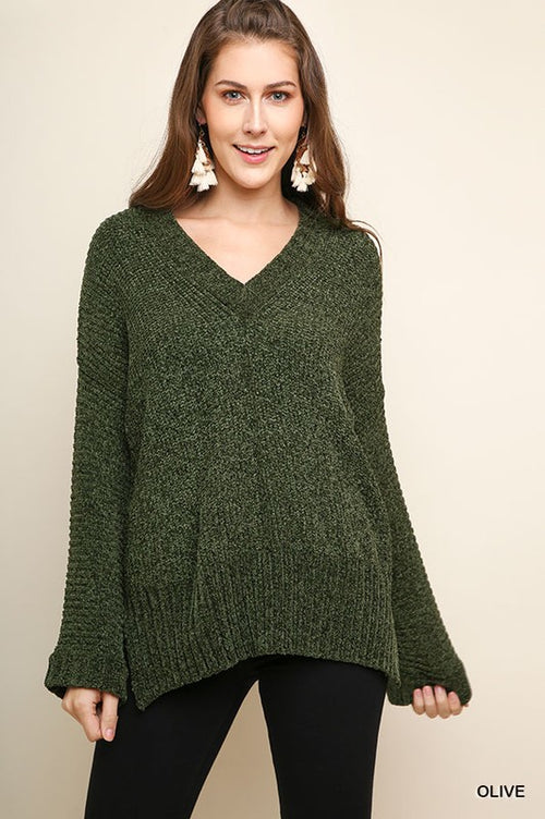 Olive Knit Pullover Sweater