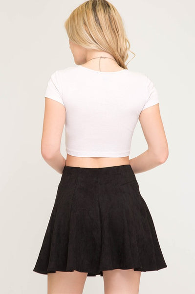 Black Suede Flare Skirt