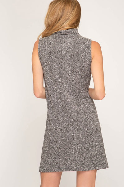 Charcoal Turtle Neck Knit Dress