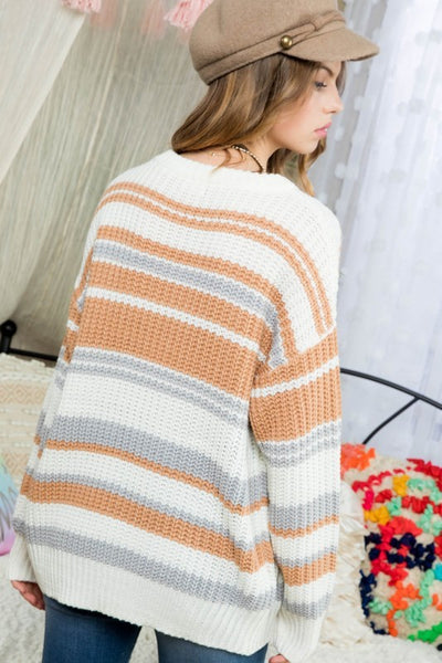 Camel Gray Striped Sweater