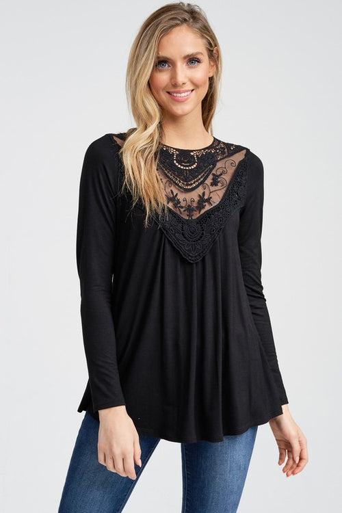 Black Solid Lace Insert Top