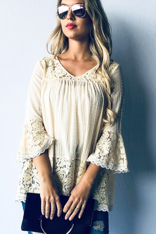 Bell Sleeve Lace Trim Top
