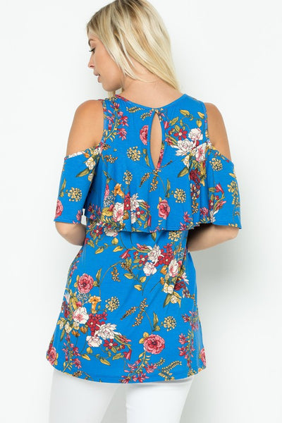 Floral Blues Off Shoulder Top