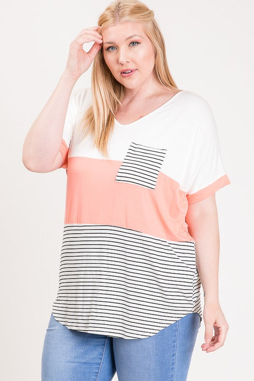 Curvy Blush Color Block Top