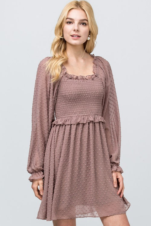Latte Swiss Mocked Dress