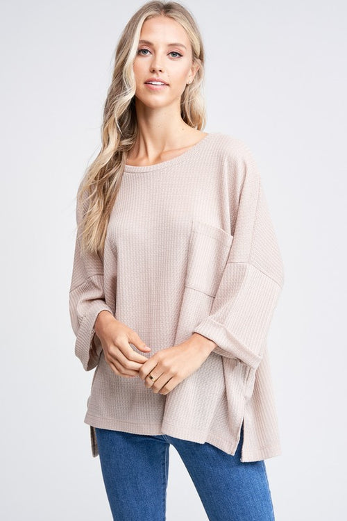 Beige Solid Knit Top