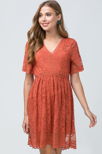 Rust Lace Fall Dress