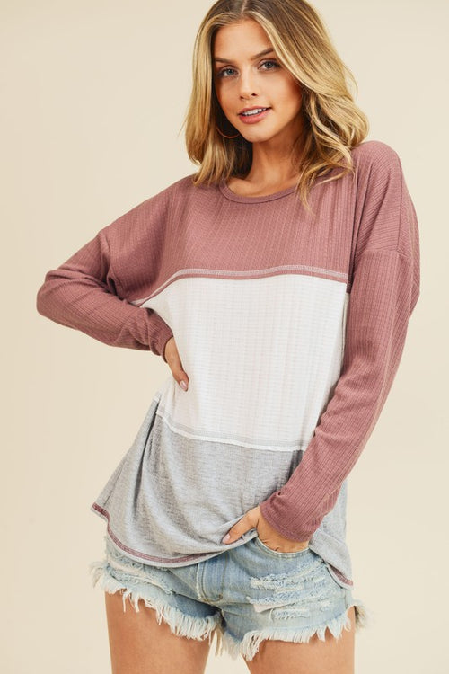 Mauve Color Block Top