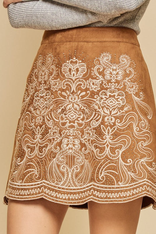 Camel Embroidery Skirt