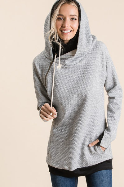 Gray Quilted Double Hoodie