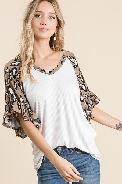 Leopard Knit Ruffle Detailed Top