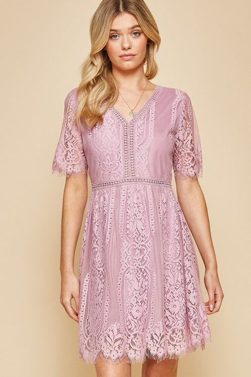 Mauve Scalloped Lace Dress