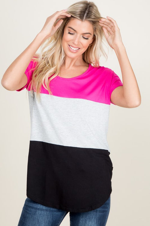 Fuschia Striped Color Block Top