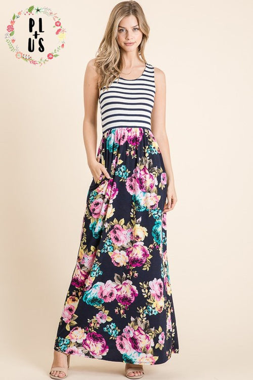 Sleeveless Navy Striped Floral Maxi
