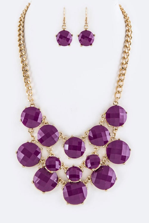 Purple Statement Necklace Set