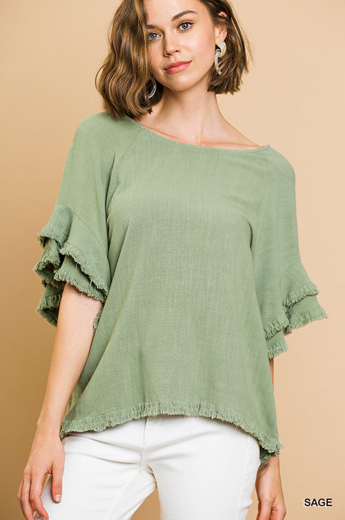 Sage Frayed Layered Ruffle Top