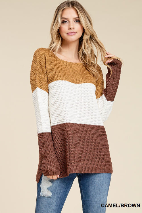 Brown Camel Waffle Pullover