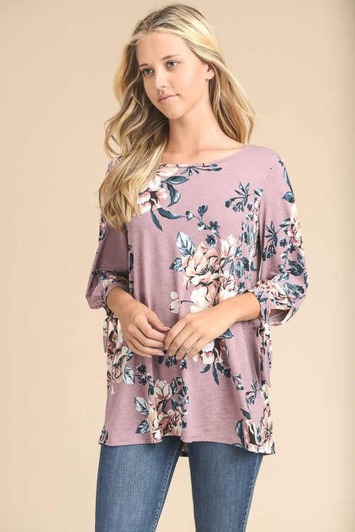 Full of Mauve Floral Top