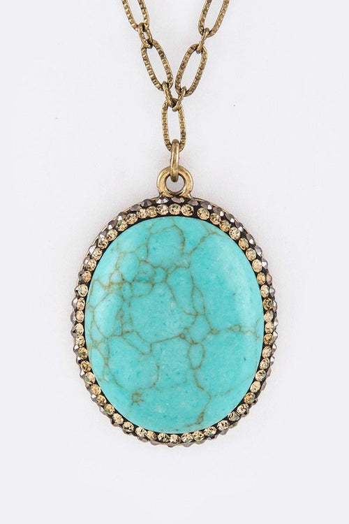 Crystal Oval Stone Pendant Necklace