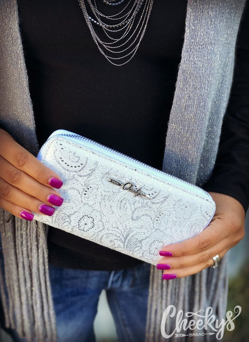 Glitz and Shimmer Wallet in White