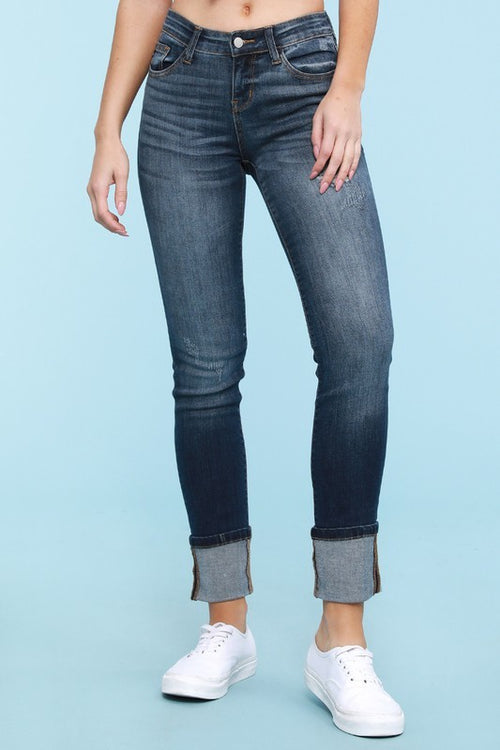 Distressed Cuffed Straight Leg Denim