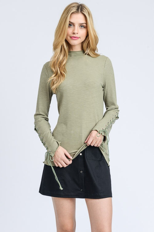 Moss Lace Up Sleeve Top