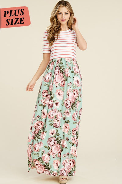 Mint Floral Striped Maxi