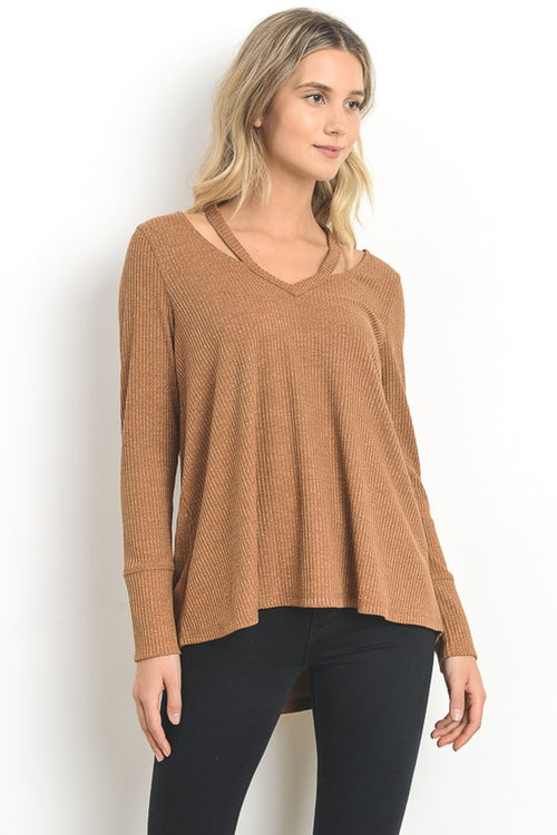 Crazy over Carmel Knit Top