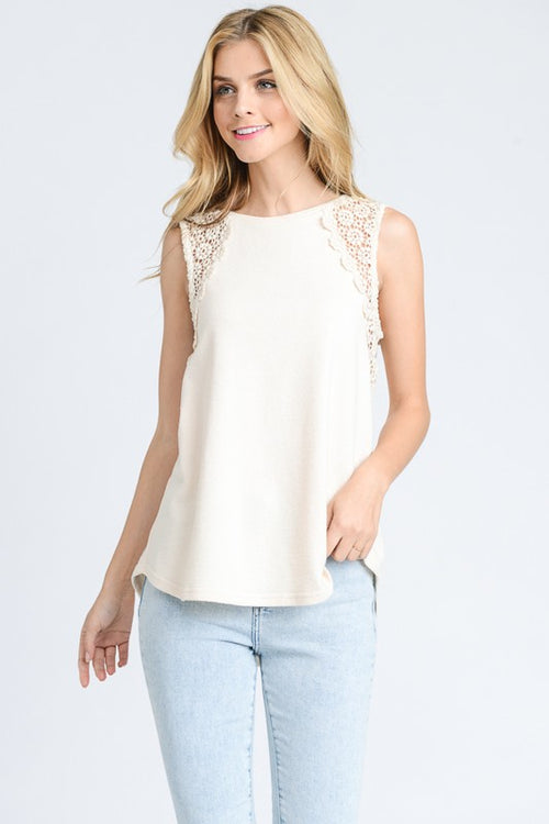 Oatmeal Lace Detail Top