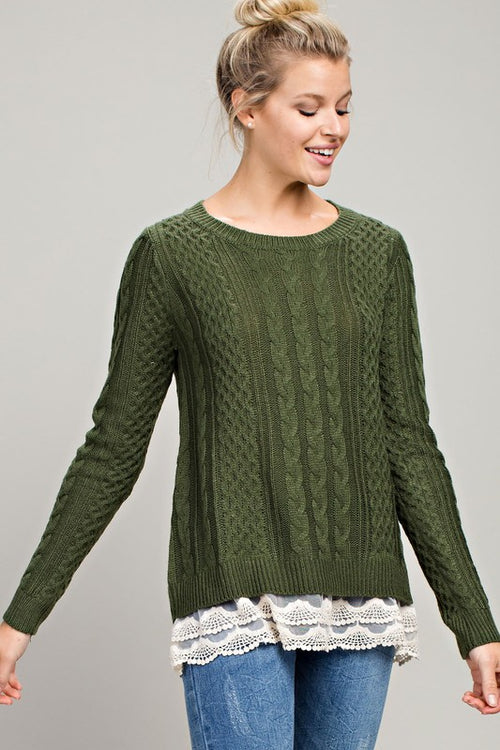 Olive Lace Trim Sweater