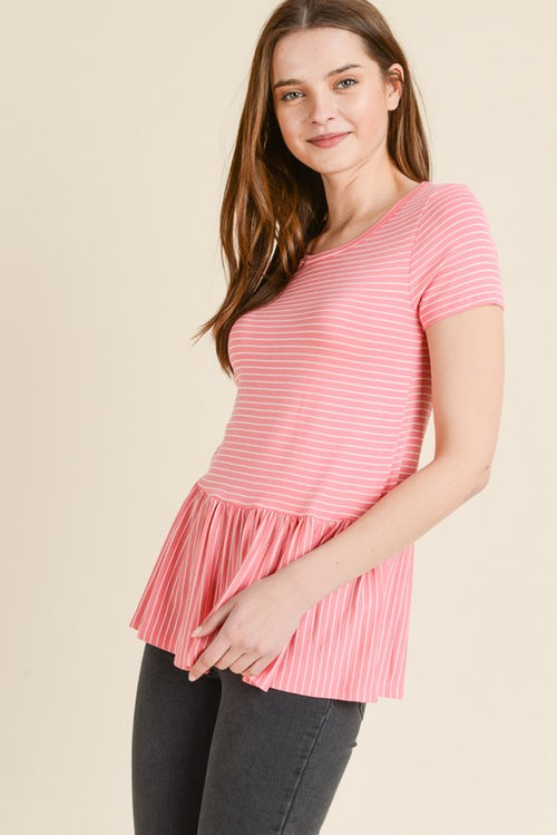 Peplum Strawberry Top